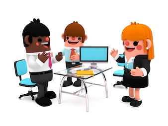 Happy group of coworkers as cartoon characters in 3D discussing business on a office meeti