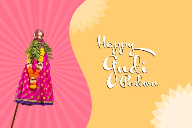 Happy gudhi padva greeting card. traditional festival of new year for marathi hindus.