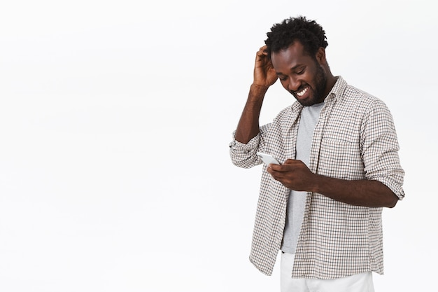 Happy guy receive message from his date in app