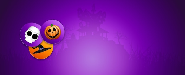 Happy halloween banner. image of a skull in a witch's hat