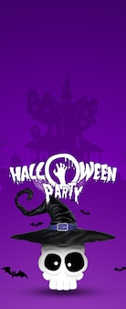 Happy halloween banner. lettering halloween party skull wearing a witch hat.