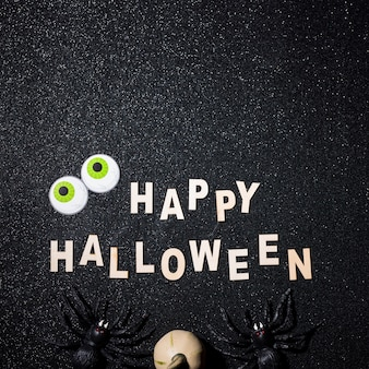 Happy halloween composition with copy space on top
