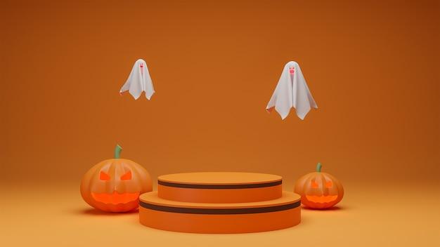 Happy halloween, concept product presentation podium with pumpkin ghost orange tone background.