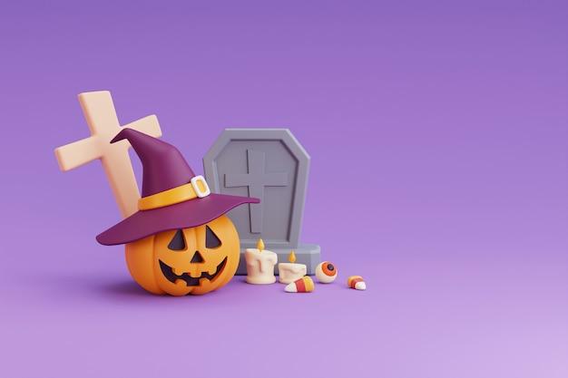 ハッピーハロウィンのコンセプト、魔女の帽子、墓石、眼球、キャンディー、ケードル、十字架を身に着けているカボチャのキャラクター。紫色の背景。3dレンダリング。