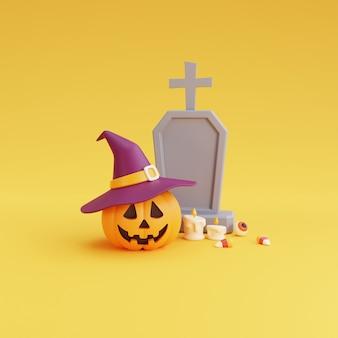 ハッピーハロウィンのコンセプト、魔女の帽子、墓石、眼球、キャンディー、caedle.on黄色の背景を身に着けているカボチャのキャラクター。3dレンダリング。