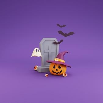 ハッピーハロウィンのコンセプト、魔女の帽子、墓石、眼球、幽霊、バットを身に着けているカボチャのキャラクター。紫色の背景。3dレンダリング。