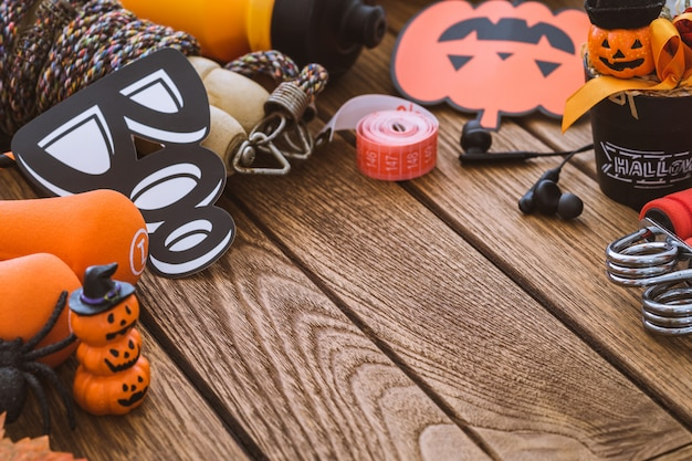Happy halloween day with fitness, exercise, working out healthy lifestyle background