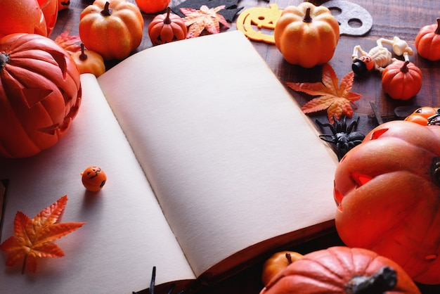 Happy halloween decoration concept and book with copy space.