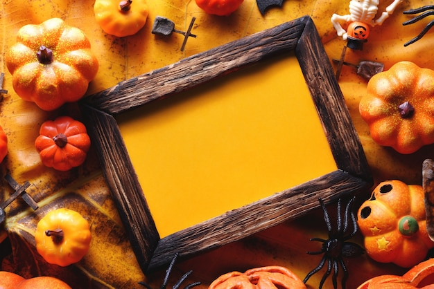 Happy halloween decoration concept and frame top view with copy space.