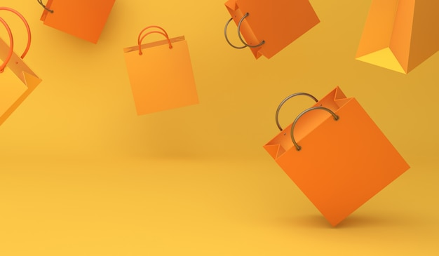 Счастливое украшение на хэллоуин или осенняя распродажа с летающей оранжевой сумкой для покупок
