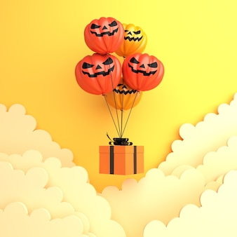 Счастливое украшение на хэллоуин с летающей подарочной коробкой из тыквенного шара и облаком