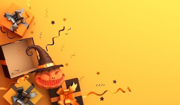 カボチャの魔女とオレンジ色のギフトボックスと幸せなハロウィーンの装飾