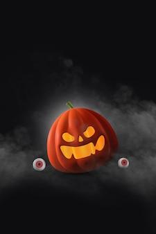Счастливый хэллоуин дизайн с тыквами на темном фоне