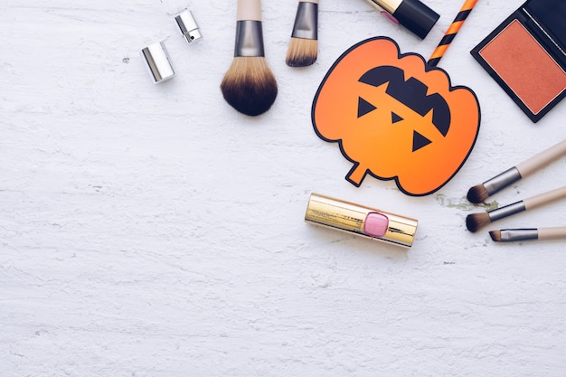 Happy halloween festival with cosmetic fashion flat lay concept.