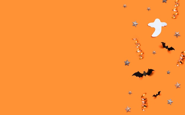 Happy halloween greeting card background with copyspace. concept trick or treat.