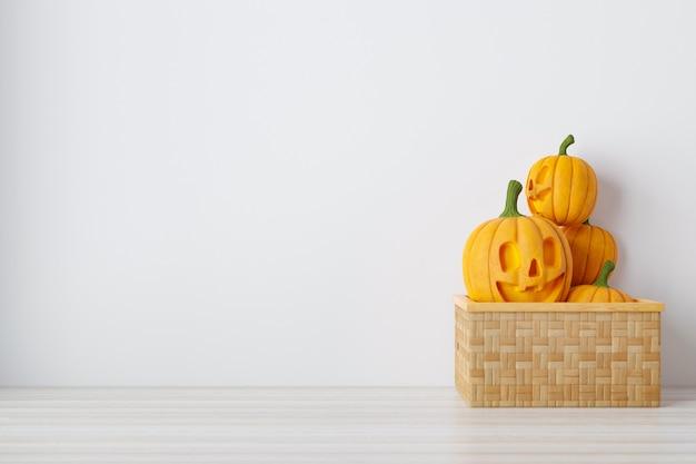 Счастливого праздника хэллоуина. фон на хэллоуин с джеком о'лантерном и тыквами