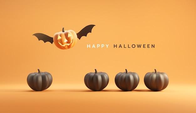 Happy halloween, jack o lantern with wings flying among pumpkins on orange color background.
