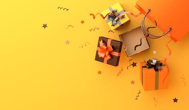 Счастливый хэллоуин или осенняя распродажа фон с подарочной коробкой для покупок с копией пространства