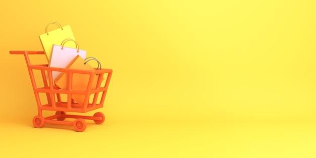Счастливый хэллоуин или осенняя распродажа декоративный фон с тележкой для покупок с копией пространства