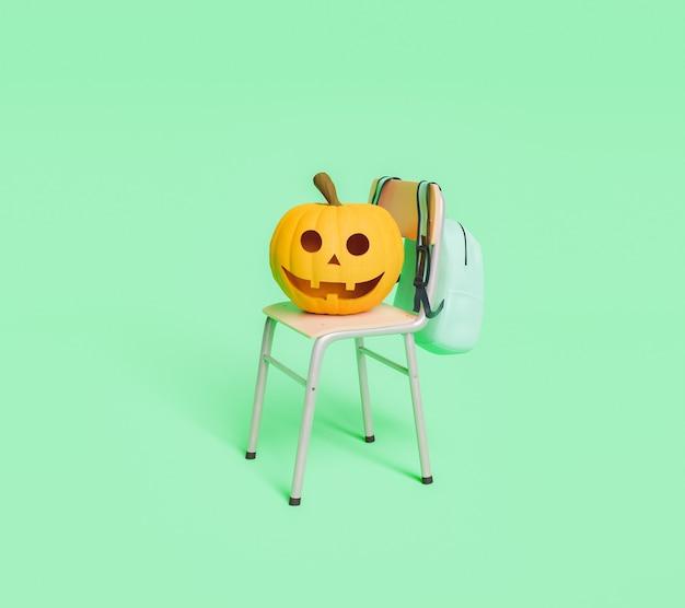 Счастливый хэллоуин тыква на школьном стуле