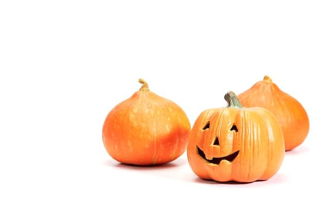 Happy halloween pumpkin on white