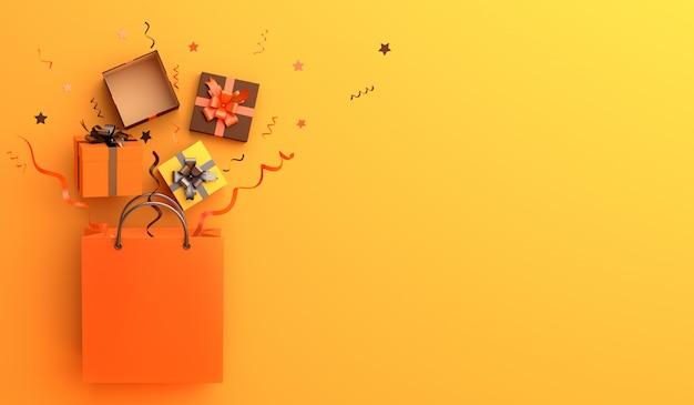 ショッピングバッグギフトボックスコピースペースでハッピーハロウィーン販売装飾