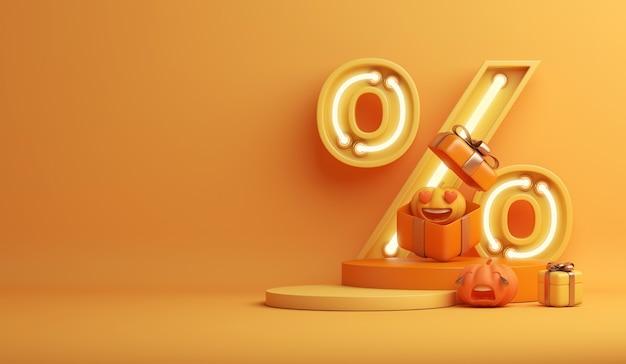 Happy halloween sale display podium with cartoon pumpkin neon percent symbol gift box