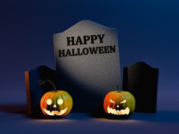 Счастливый знак хэллоуина на надгробной плите с освещенными тыквами и темным и загадочным фоном. концепция хэллоуина. 3d рендеринг