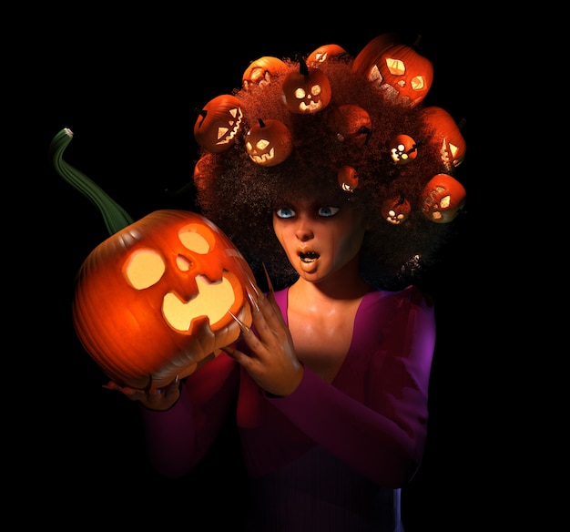 Happy halloween. witch holds a pumpkin in her hand and head. 3d illustration