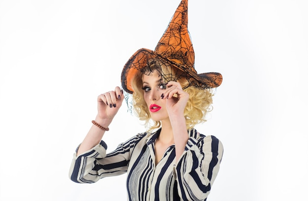 Happy halloween witch magic halloween witch in magic hat october costumes and witch hats