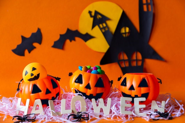 Happy halloween with haunted house castle