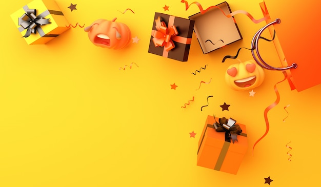 Happy halloween with shopping bag gift box pumpkin