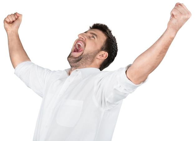 白で隔離の表情を持つ幸せなハンサムなビジネスマン