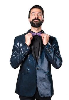 Happy handsome man with sequin jacket