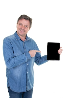 Happy handsome smiling man showing tablet black empty screen empty