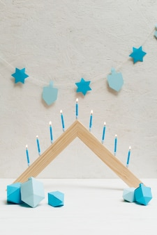 Happy hanukkah celebration with candles