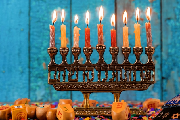 Happy hanukkah of jewish holiday hanukkah with menorah