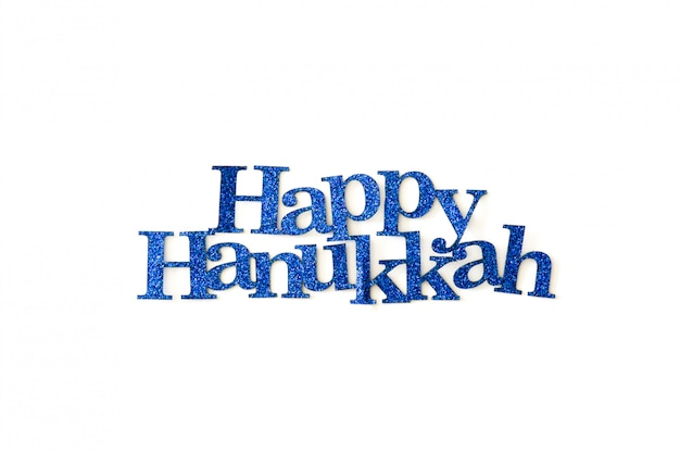 Happy hanukkah written with blue word isolated in white