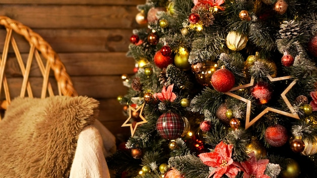 Happy holiday. a beautiful wooden living room decorated for christmas.