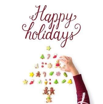 幸せな休日の陽気な挨拶の言葉