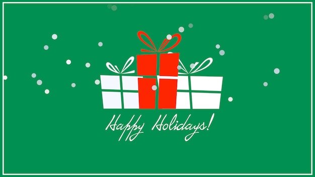 Happy holidays text, three gift boxes on green background. luxury and elegant dynamic style 3d illustration for winter holiday