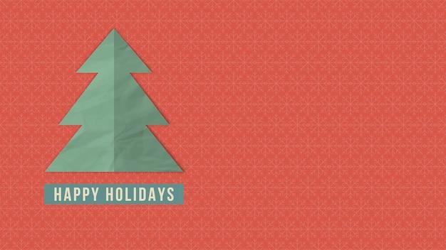 幸せな休日のテキスト、赤い背景の上の白いクリスマスツリー。冬の休日のための豪華でエレガントなダイナミックスタイルの3dイラスト