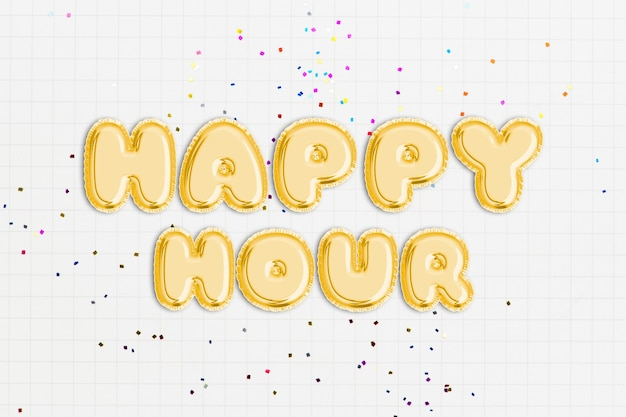 Happy hour text in balloon font