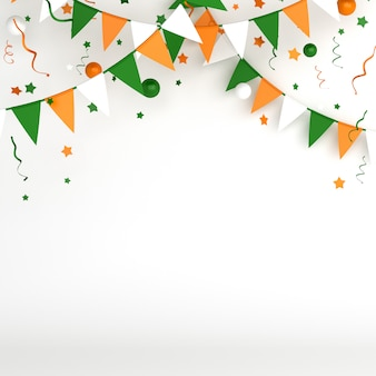 Happy independence day of india or ireland decoration background with bunting garland flag