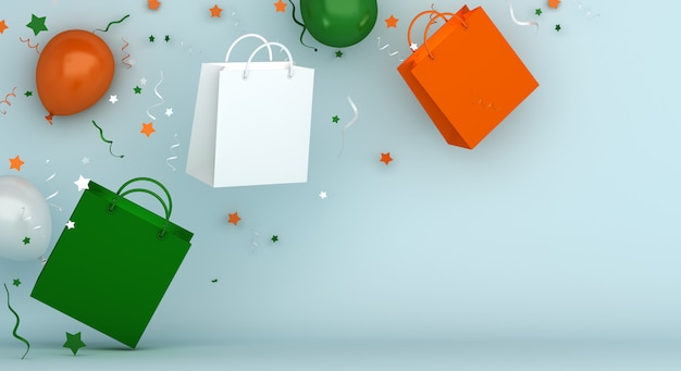Happy independence day of india sale decoration background with shopping bag and balloon