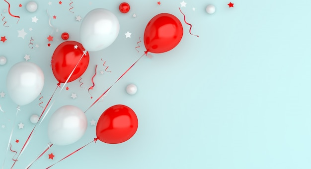 Happy independence day of indonesia or poland decoration background flying balloon copy space