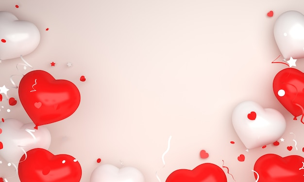 Happy independence day of indonesia or poland decoration background with balloon heart shape copy space