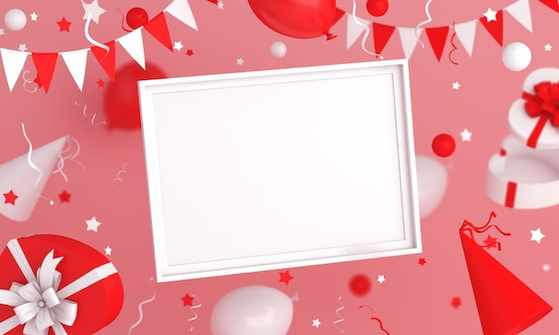 Happy independence day of indonesia or poland decoration background with empty frame mock up