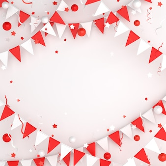 Happy independence day of indonesia or poland decoration background with garland bunting flag, copy space