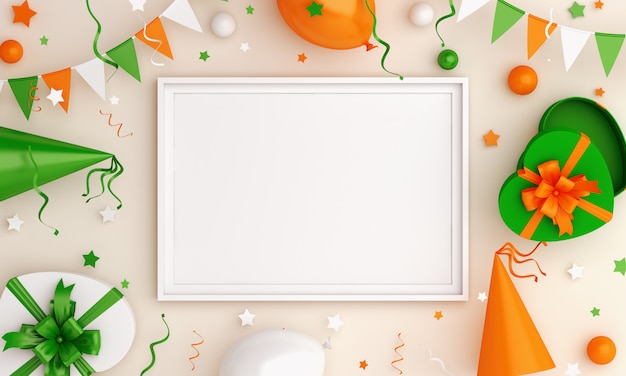С днем независимости индии или ирландии декоративный фон макет рамки